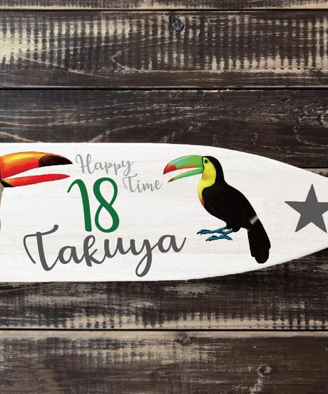 クジラとオオハシのパドル【ディスプレイ用】ネーム&お好きな数字をお入れします。プレゼント付き!