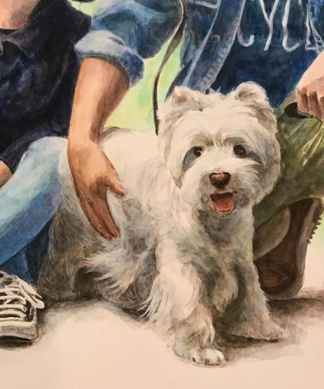 家族の肖像画  (A3・2人+愛犬1匹)