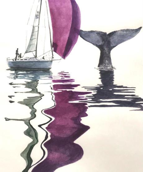 ヨットとクジラ アクリル原画 フレーム付き