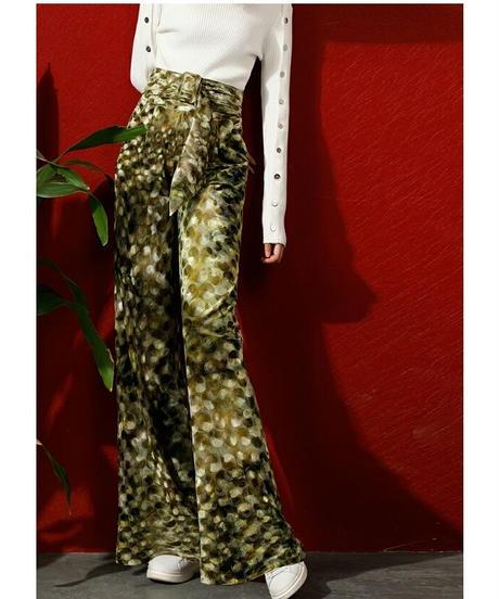 シャイニー三日月模様ベロア素材リラックス感〇ストレートパンツ2色