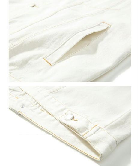 ユニセックス/白/袖ロゴ/デニムジャケット