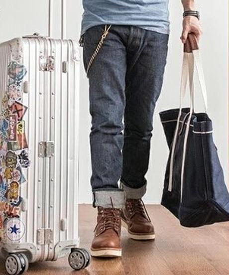 2WAYデニム素材/小旅行にも○大きいサイズ/シンプルトートバッグ