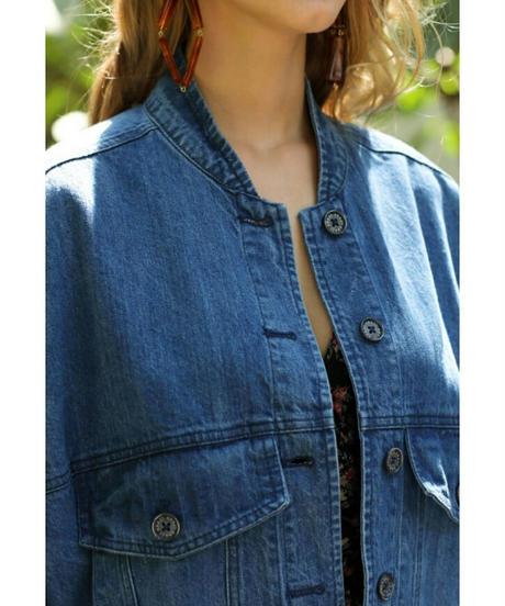 かわいいバックスタイル猫&お花刺繍フリンジデニムジャケット