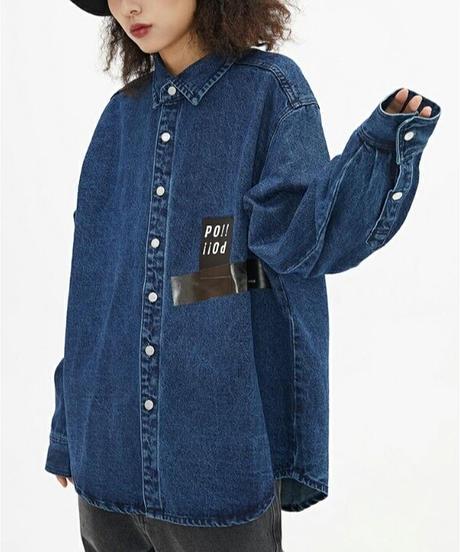 ユニセックス/ロゴ/オーバーサイズ/デニム/シャツジャケット