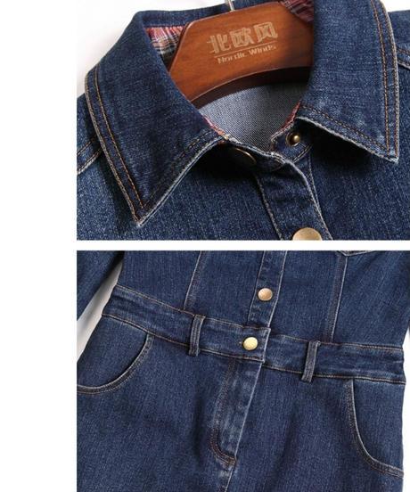 ベルト付き袖ロールアップチェック上品なラインデニムワンピース