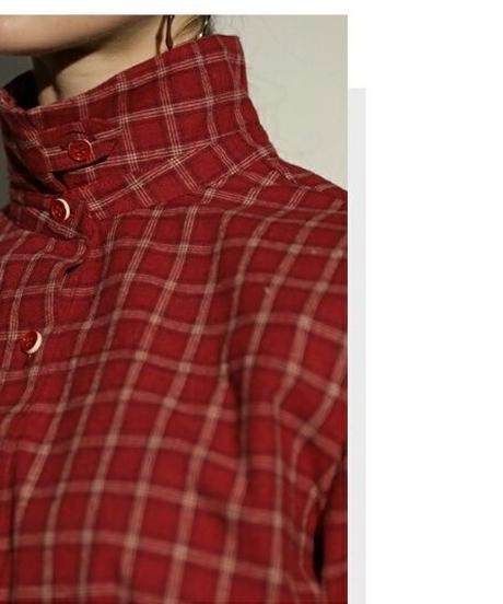 ウエスト紐リボン付き格子チェック柄着丈長めの長袖シャツ