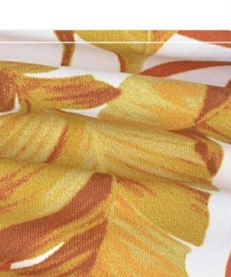 ボタニカル柄大きい葉っぱバックシャンクロス/ハイレグワンピース水着