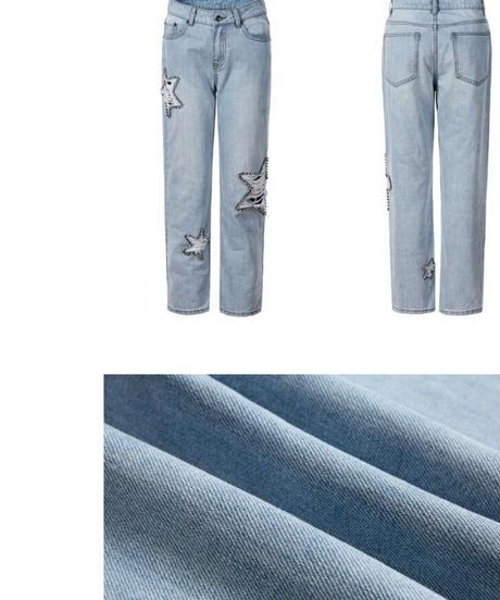 ポイント大きい星ダメージ&ビジュー淡い青ジーンズ