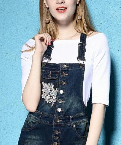 Tシャツ付きスパンコール立体花モチーフ&レースデニムサロペットロングスカート