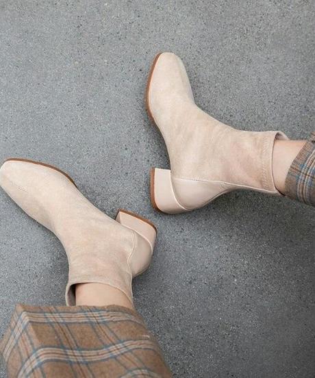 2タイプレザー素材シンプルショートブーツ