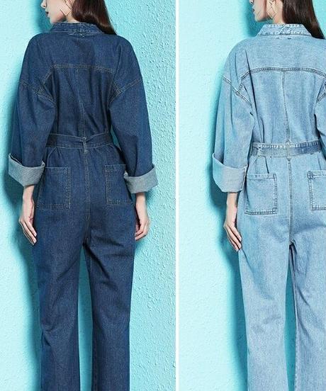 ネイビー/青デニムVネック袖広シンプルジャンプスーツ