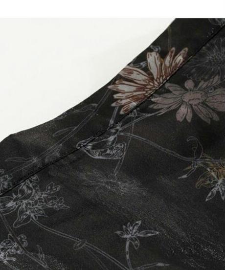甘すぎないほのかな花柄シースルーティアードハイウエストロングスカート