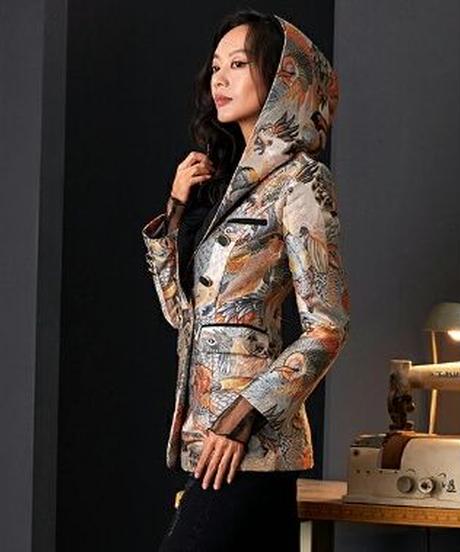 着物を連想/ジャカード高級感〇フード付きジャケット
