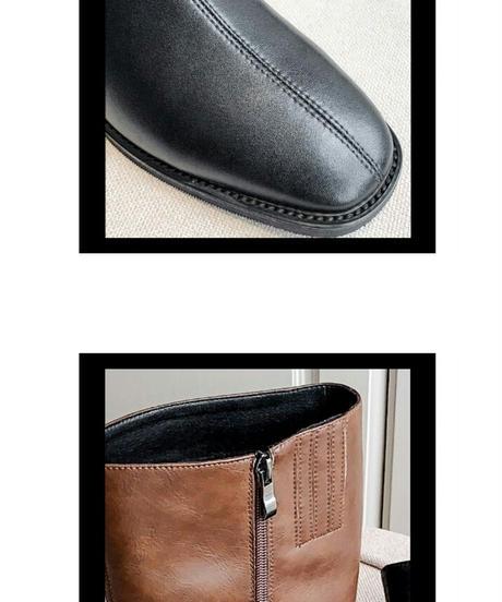 シンプルなローヒール3.5cm/レザーロングブーツ2色