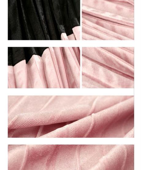 バイカラーベロアプリーツロングスカート