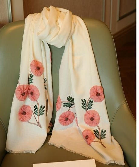 昭和レトロ連想ポイント花柄ウールストール3色