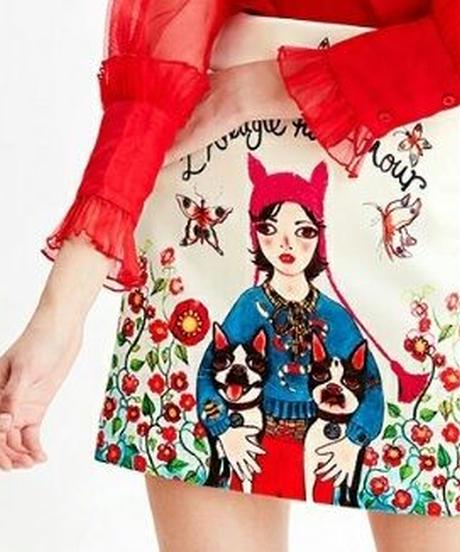 犬&少女&お花畑レトロなプリントAラインスカート