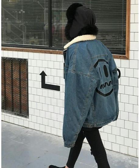 オーバーサイズボア×デニムジャケット
