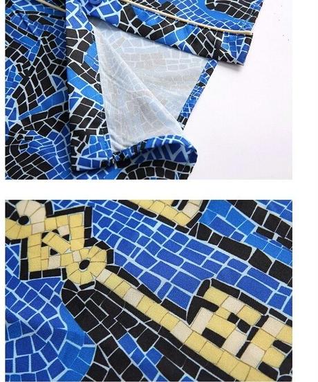 セットアップ/青/プリントシャツ+フレアパンツシルエットがキレイ