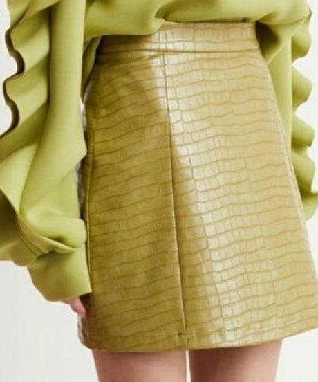 鰐革風フェイクレザータイトなシルエットミニスカート