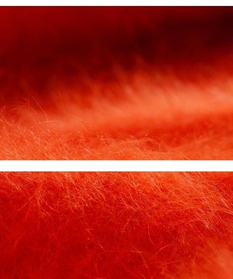 綺麗なオレンジ発色シャギーニットVネックカーディガン