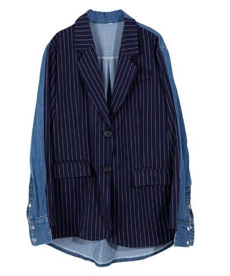 前後ギャップストライプ&デニム異素材ミックスオーバーサイズジャケット
