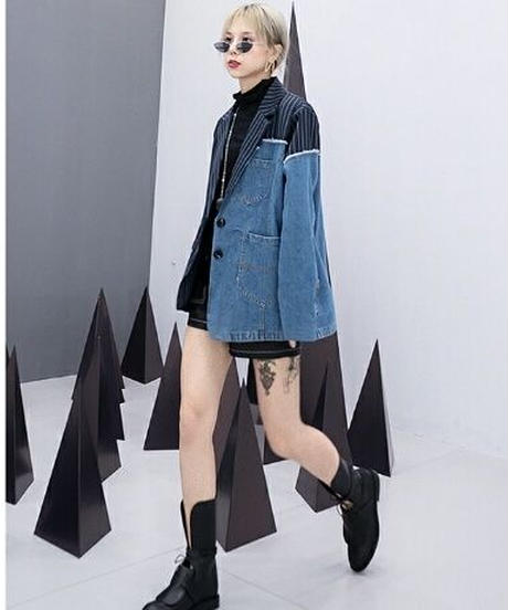 アシンメトリーストライプ&デニム切替異素材ミックスジャケット