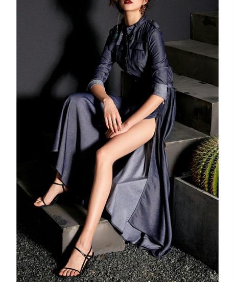 襟元ベルト/柔らかい光沢テンセルデニム/ロング/スリット/ドレス