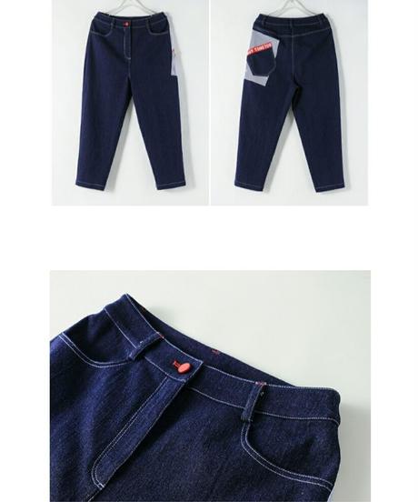 斜めポケットロゴ/青/テーパードフィットジーンズ