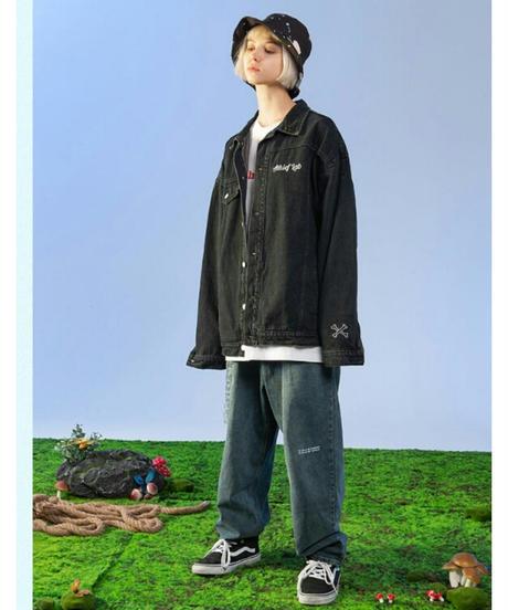 ユニセックス/黒/バックロゴ&スカル/落書き風/デニムジャケット