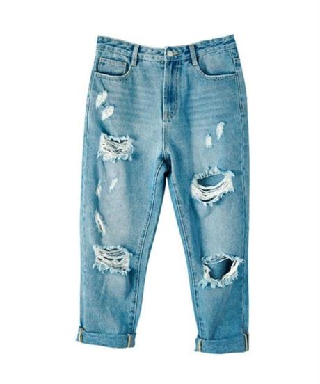 ハイダメージデニム淡い青ボーイフレンドジーンズ