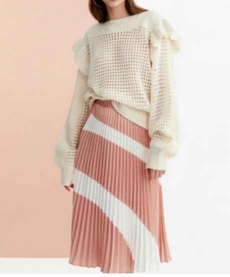 ピンクのバイカラー細いひだ繊細なプリーツミディアムスカート
