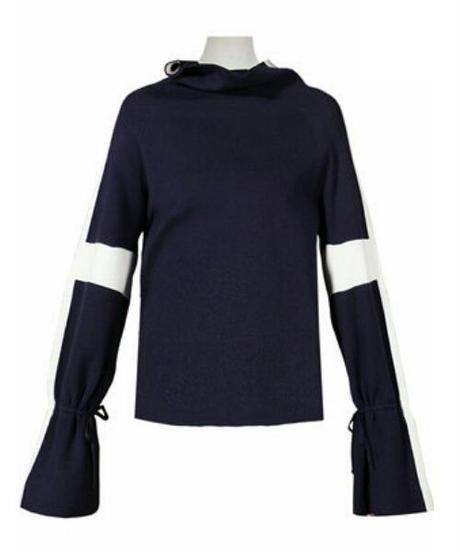 袖ライン紐リボンでベルスリーブオフタートルニットトップス2色