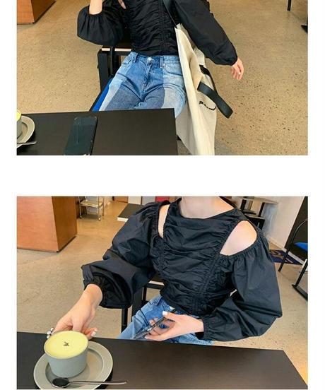 肩カットギャザーでメリハリ/コットントップス3色
