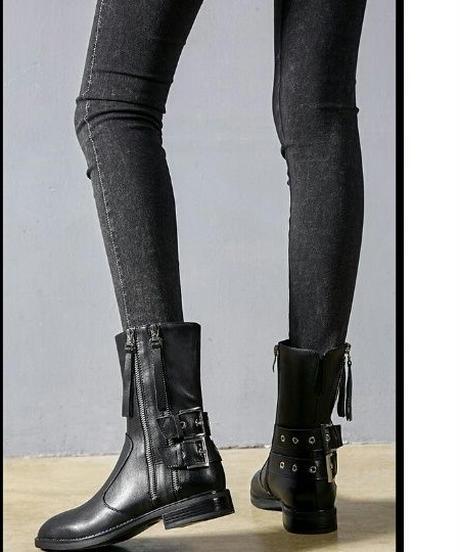 ロングとショート2タイプ安定ベルト付き黒レザーサイドジップブーツ