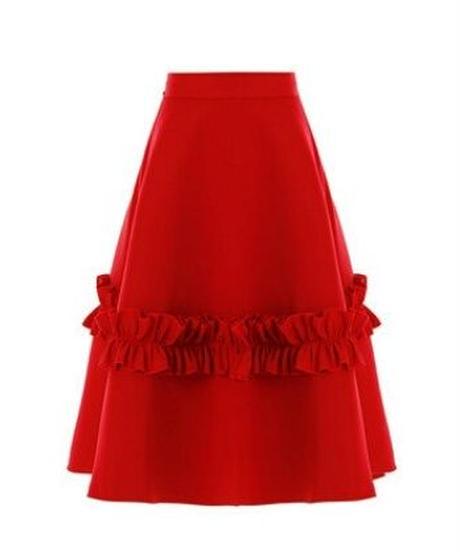 ポイントフリルエアリー感Aラインスカート2色