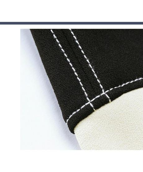 ベルト付き/バイカラー斬新なアシンメトリーカットハイウエストスカート