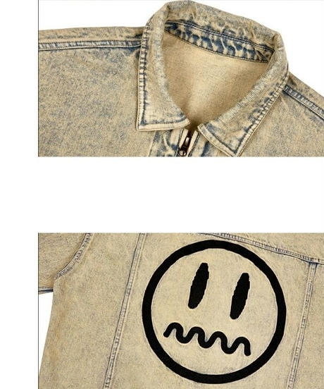 ユニセックス/オーバーサイズ/青/黄色/バックプリント/デニムジャケット
