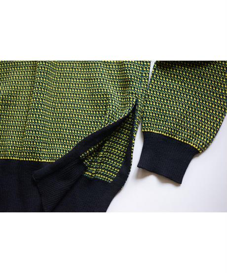 KaIKI /  ジャカートニット プルオーバー - Green×Yellow×Black