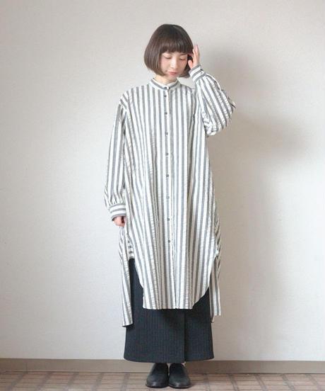 <Last 1> KaIKI /  シルク混サッカーストライプシャツワンピース - Blue