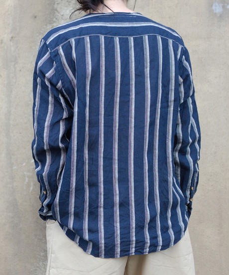 MUYA / Nerd shirts stand collar Stripe - DarkNavy