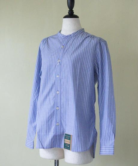 Handwerker /  collerless shirt - Stripe Blue