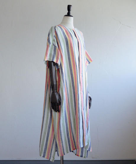 Tailor the dress / Nocollar Wide shirts dress - Stripe