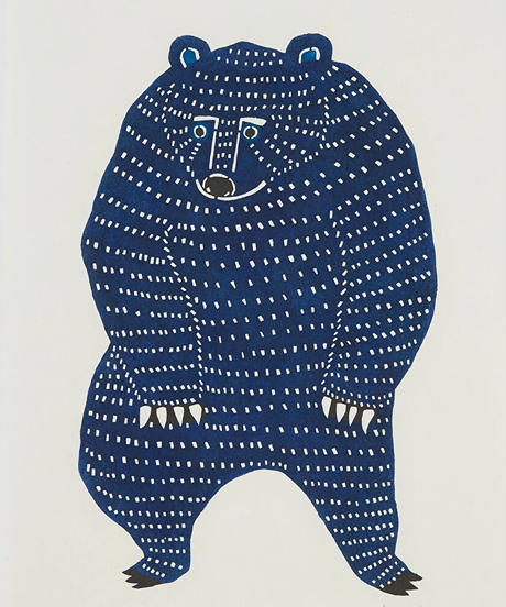 <梱包、送料含> katakata - 和紙絵 - 踊るクマ