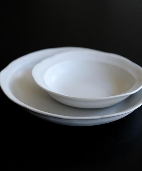 馬場勝文 / リム深鉢 - 大  - 白磁マット