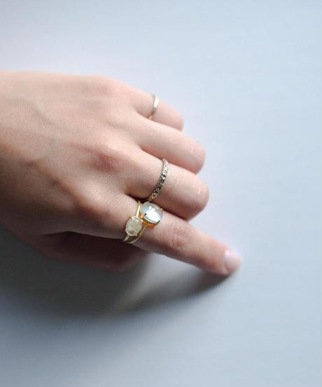 jemstone ring - グリーンカルセドニー - 大