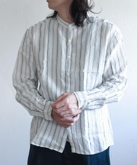 MUYA / Atelier shirts relax stand collar - White Stripe