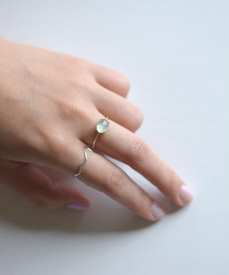 jemstone ring - グリーンカルセドニー