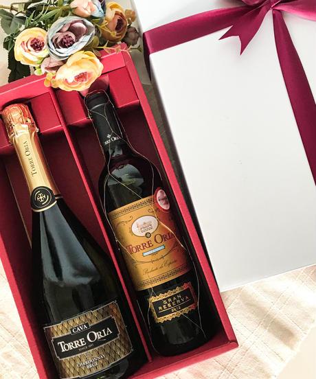 【送料無料 父の日 ラッピング付き 2本セット】 トレオリア グラン レゼルバ & カヴァ(赤ワイン&スパークリングワイン)750ml