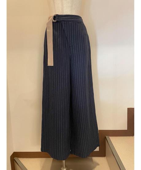 マニッシュな麻パンツ   ネイビーピンストライプ